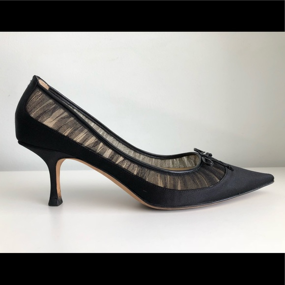 345778b1bd4f2 Jimmy Choo Shoes - JIMMY CHOO BLACK SATIN LACE KITTEN HEEL PUMPS